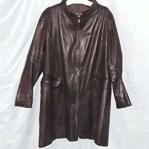 VERA PELLE 3/4 soft brown leather jacket